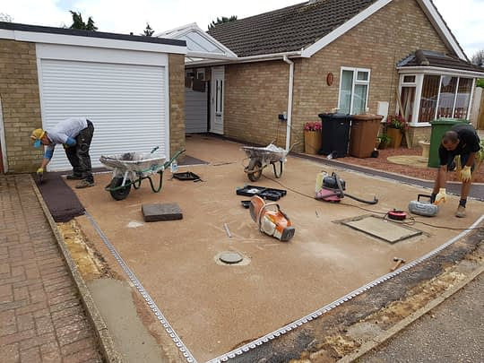 Split Coloured Driveway Being Installed