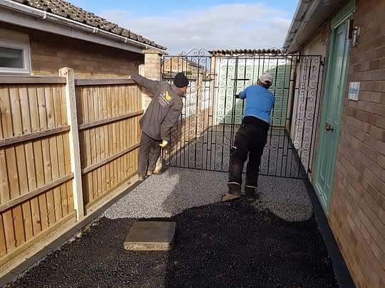 Resin driveway being installed