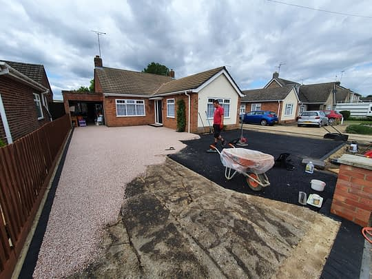 Resin Bound Driveway Being installed in Gunthorpe
