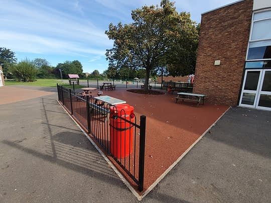 Resin Bound Eating Area for Highlees School in Peterborough