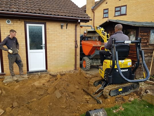 Patio in Peterborough Being Excavated