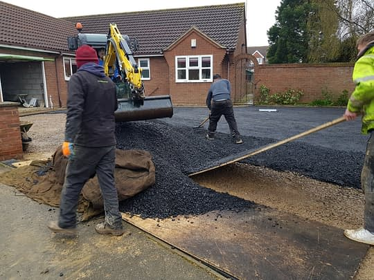 Tarmac Base Being Installed for Resin Drive