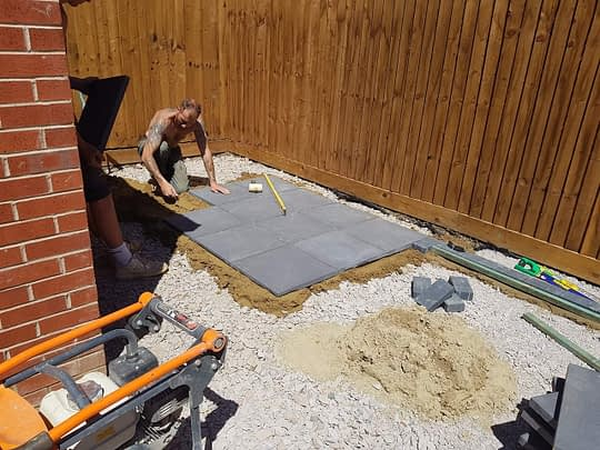 BBQ Area being Laid in Hampton Gardens Peterborough