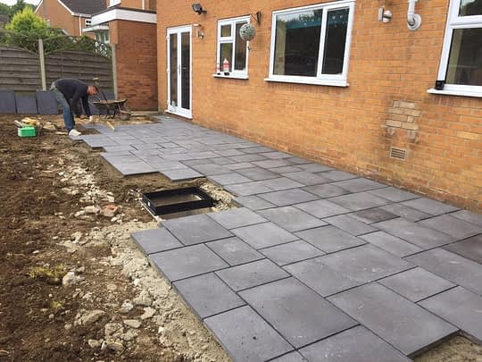 Paving being installed for Patio in Bretton