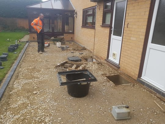 Patio base Being Installed