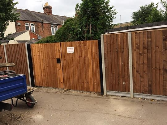 Large Wooden Gates installed in Peterborough