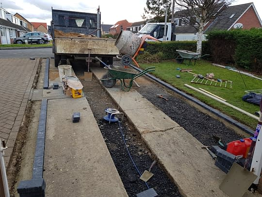 Block Edgings Being installed for Resin Drive